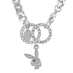 Official Playboy Bracelet Crystal Infinity Circles Link Pave Iconic Bunny Logo Genuine Authentic Licensed Playboy Jewelry CPBB1025 Playboy. $19.95. Measures: 7.5 inches long X .25 inch wide chain. Circles with Bunny charm measures: 1-5/8 inches long X 1 inch wide