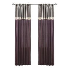 Set of two colorblocked curtain panels with a polka dotted stripe.     Product: Set of 2 curtain panels      Construction...