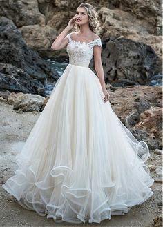 #Dressilyme - #Dressilyme Dressilyme Glamorous Tulle Jewel Neckline A-line Wedding Dress With Beaded Lace Appliques & Ruffles - AdoreWe.com