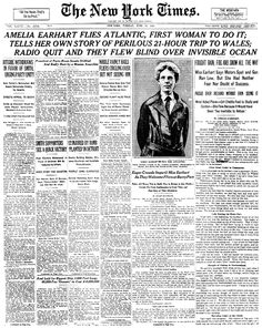 June 17, 1928, Amelia Earhart embarked on the first trans-Atlantic flight by a woman. She flew from Newfoundland to Wales in about 21 hours.