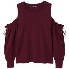Cold-Shoulder Sweater (2.280 RUB) ❤ liked on Polyvore featuring tops, sweaters, burgundy, open shoulder sweater, cold shoulder sweater, cut-out shoulder sweaters, knit sweater and purple knit sweater