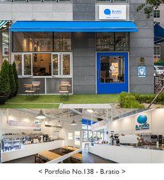 25평 화이트 모던 카페, 예쁜 창문 바닥 타일 노출천장 파란문
