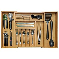 Amazon.com: Kitchen Drawer Organizer Expandable, Utensil Organizer, Cutlery Drawer Dividers, Flatware Drawer Organizer - Crafted of 100% Natural Bamboo - By Bambüsi: Kitchen & Dining
