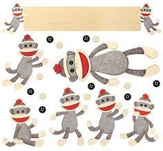 Sock Monkey Bulletin Board Set