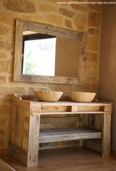 Pallet bathroom plans serve at those places which we ignore like bathroom. You can see in below pictures how many projects are related with pallet bathroom. Wood Pallet Recycling, Recycled Pallets, Wood Pallets, Pallet Wood, Pallet Bathroom, Bathroom Furniture, Pallet Furniture, Bathroom Plans, Bathroom Cabinets