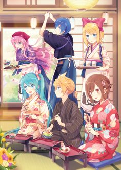 Vocaloid: Hatsune Miku, Kagamine Rin and Len, Megurine Luka, Kaito, Meiko. Anime Kimono, Kimono Animé, Chica Anime Manga, Anime Art, Vocaloid Kaito, Kagamine Rin And Len, Vocaloid Funny, Vocaloid Characters, Fanarts Anime