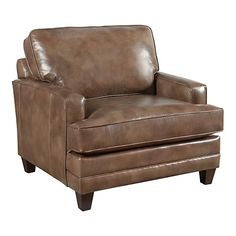 HGTV HOME Custom Upholstery Small Chair and a Half - Leather #bassettfurniture #accentchair