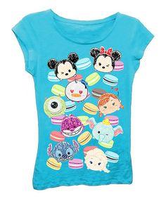 Look at this #zulilyfind! Turquoise Tsum Tsum Allover Tee - Girls #zulilyfinds