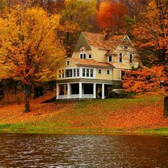 Lake House in Autumn - abandoned world Beautiful Homes, Beautiful Places, Beautiful Pictures, Haus Am See, Beau Site, Autumn Scenes, Autumn Aesthetic, Dream House Exterior, Fall Pictures
