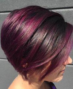 Purple Medium Bob Hairstyles
