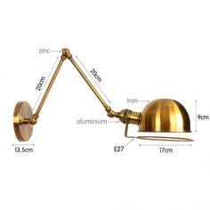 Vintage nástenná lampa Long Arm v bronzovej farbe (1) Wall Lights, Iron, Retro, Lighting, Vintage, Home Decor, Colors, Appliques, Decoration Home
