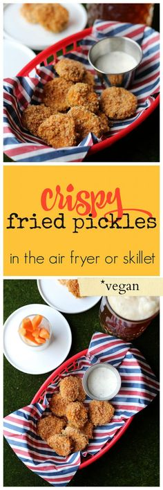 Crispy fried pickles in the air fryer or skillet vegan appetizer super bowl starter football snack dairy free Vegan Appetizers, Appetizer Recipes, Delicious Appetizers, Vegan Snacks, Vegan Food, Health Appetizers, Dinner Recipes, Thanksgiving Appetizers, Party Appetizers