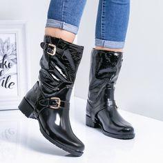 Cizme de cauciuc dama negre Niposia -rl Riding Boots, Biker, Navy, Casual, Kids, Shoes, Fashion, Horse Riding Boots, Hale Navy