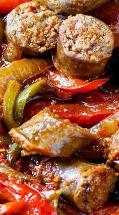 Italian Sausage and Peppers Flavorful chunks of Italian sausage are combined with diced tomatoes, garlic, oregano, basil, lots of red and green bell pepper and onion for an easy weeknight meal. - Italian Sausage and Peppers MoreItalian Sausage And Peppers Italian, Italian Sausage Recipes, Italian Foods, Sausage And Peppers Crockpot, Sausage Peppers And Onions, Italian Cooking, Authentic Italian Recipes, Italian Meat Dishes, Johnsonville Sausage Recipes