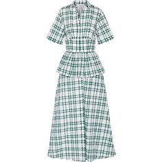 Rosie Assoulin Boogie Woogie Bugle Boy checked seersucker organza maxi... ($2,320) ❤ liked on Polyvore featuring dresses, retro dresses, seersucker dress, layered maxi dress, double layer dress and rosie assoulin dress
