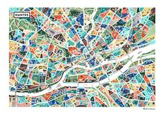 L'artiste Antoine Corbineau s'est lancé dans le projet de peindre la ville de Nantes, à sa façon. Son travail mélange la cartographie et l'illustration