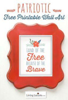 Free Printable Patriotic Wall Art {Red White & Blue Blog Hop} LivingLocurto.com