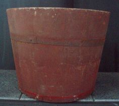 antique banded bucket maple sugar sap pail wood FREE SHIP  OBO