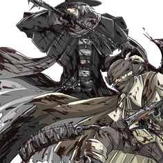 Bloodborne / ともだち / May 2015 - pixiv Bloodborne Characters, Bloodborne Art, Dark Blood, Old Blood, Soul Game, Dark Souls Art, Gothic Horror, Fantasy Creatures, Dark Fantasy