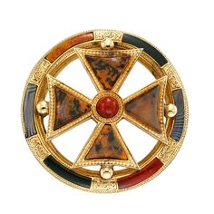 Antique Scottish Agate Sash Pin. An antique Scottish gold and agate sash pin, the central Celtic cross within an open circles all set with vari colored agates, c 1880