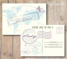 Oh the Places You'll Go Printable 5x7 Neutral Baby Shower Invitation by TaylorNoelleDesigns, $15.00 Vintage Postcard with Stork and Map