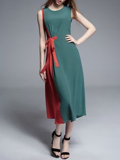Red Shift Color-block Sleeveless Silk Midi Dress