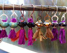 Ribbon Earrings | Sari silk ribbon earrings