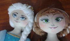 Bonecas de pano Elsa e Anna do Frozen Handmade cloth dolls Elçsa and Anna Frozen