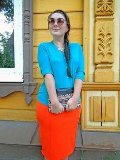 look, летний образ, оранжевый цвет, сочетание цветов, бирюзовый цвет