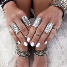 gypsy rings and white nails