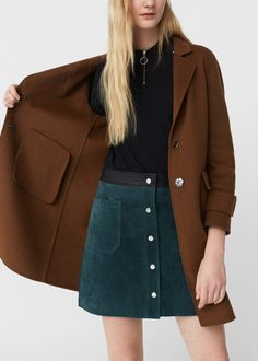 Discover the latest trends in Mango fashion, footwear and accessories. Shop the best outfits for this season at our online store. Suede Skirt, Denim Skirt, Spring Summer Fashion, Autumn Winter Fashion, Button Up Skirts, Fall Outfits, Fashion Outfits, Mango France, Green Coat