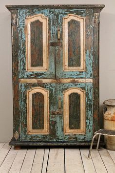 Antique Blue Turquoise Cream Green Silver by hammerandhandimports Primitive Furniture, Funky Furniture, Recycled Furniture, Paint Furniture, Kitchen Island Decor, Kitchen Wood, Armoire, Small Pendant Lights, Turquoise Kitchen