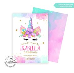 Magical Unicorn Birthday Party Invitation Design, Gold Glitter and Watercolors, Unicorn Birthday decor - Double Sided Printable Design by PartySprinklesStore on Etsy https://www.etsy.com/listing/564220372/magical-unicorn-birthday-party