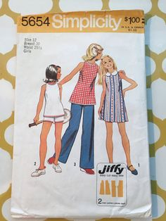 1973 Simplicity Sewing Pattern 5654 Girls Sleeveless Top Tunic & Shorts or…