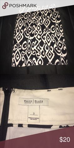 NWOT White House Black market pencil skirt Black and white Pencil skirt Sz 2. Never worn. Has belt loops. Soft and feminine. Perfect to wear to a wedding or work. Small split up the back.  NWOT. 97% cotton and 5% spandex with 100% polyester lining. White House Black Market Skirts Pencil