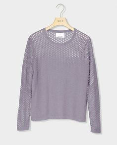 AJOUR KNIT SWEATER – GREY