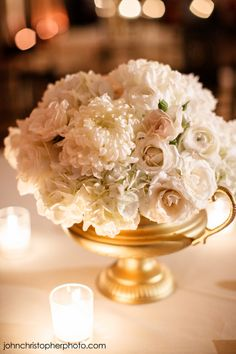 Darling little white and gold centerpiece by Lush Couture Floral. Photo by John Christopher Photographs. Blush Winter Wedding, Ivory Wedding, Wedding Colors, Wedding Flowers, Gold Centerpieces, Centrepieces, Wedding Planning Guide, Wedding Decorations, Table Decorations