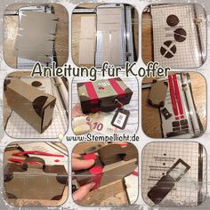 Anleitung Koffer aus Papier für Geldgeschenk (Stempellicht) … as promised, here comes my instructions for the money gift box …. Baby Scrapbook, Scrapbook Paper, Wedding Scrapbook, Scrapbooking, Diy Bags Purses, Diy Purse, Stampin Up, Cute Suitcases, Paper Case