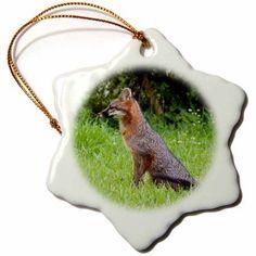 3dRose Gray fox lawn sitting sit wild wildlife, Snowflake Ornament, Porcelain, 3-inch