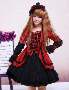 Red Black Cotton Lolita OP Dress Long Sleeves Lace Up Design Layers