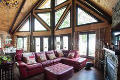 Custom log cabin Log Home Living, Cottage Living, Living Room, Timber Frame Homes, Log Cabin Homes, Wood Interiors, House In The Woods, Engineered Wood, Building A House
