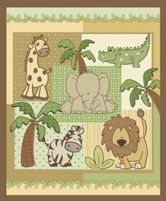 Items similar to Kimba Jungle Safari Animals Quilt on Etsy Baby Quilt Panels, Panel Quilts, Safari Animals, Baby Animals, Jungle Safari, Animal Quilts, Tree Quilt, Baby Cribs, Baby Quilts