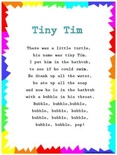 "I chose this rhyme as it repeats the word ""bubble several times, it is also teaching them sounds like ""pop"" Silly Songs: Lyrics for ""Tiny Tim"" with a Learn Along Video Kindergarten Songs, Preschool Music, Preschool Transition Songs, Circle Time Ideas For Preschool, Spring Preschool Songs, Preschool Action Songs, Preschool Fingerplays, English Kindergarten, Music Activities"