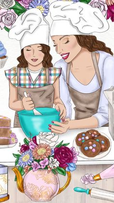 Cooking with Mom ❤️ Mother Daughter Quotes, Mother Art, Mother And Child, To My Daughter, Sarra Art, Girly M, Girly Drawings, Mothers Love, Cute Illustration