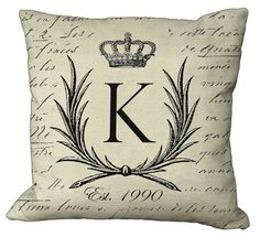 "Crowned Laurel Wreath Monogram Pillow Cover by Soeuralasoeur, $35.00 ""B"" Est 2012! :)"
