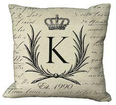 "Crowned Laurel Wreath Monogram Pillow Cover by Soeuralasoeur, $35.00 ""B"" Est 2012! :)"