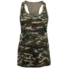 Ladies Camo Loose Tank (€13) found on Polyvore