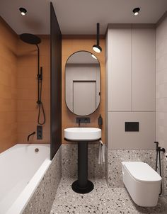 Small apartment of 70 sq. is dwelling for a young extraordinary couple(and their dog) The starting point of the stylistic decision was the rich pumpkin color of the ceramic tile and gypsum wall panels. Bathroom Design Luxury, Modern Bathroom, Home Interior Design, Small Bathroom, Bathroom Styling, Fashion Room, Bathroom Furniture, Bathroom Inspiration, House Design