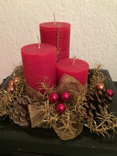 Diy Xmas deco below.. (Used old sushi plate, candles from ikea, Xmas ball from migros, pine cones from tree outside&some deco I stole from my Xmas tree)