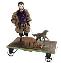 """. French Pull Toy """"Walking the Dogs""""with Superb Bisque Gentleman"""